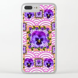 PINK & PURPLE PANSY ART ABSTRACT  PATTERN Clear iPhone Case