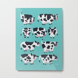 Cow Collection – Turquoise Metal Print