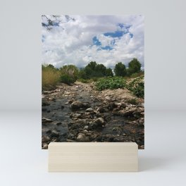 Rocky Landscape   Clouds   Vibrant Green Trees  Mini Art Print