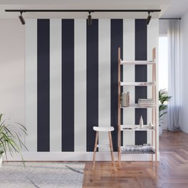 Elderberry blue - solid color - white vertical lines pattern Wall Mural