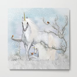 Winter Robins and Unicorns Metal Print