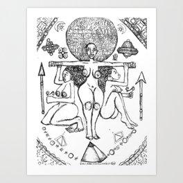 2013 Goddess of Balance (white design) art by Marcellous Lovelace Art Print