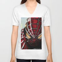 spider man V-neck T-shirts featuring Spider-Man by Inspirations