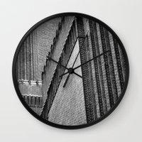 kris tate Wall Clocks featuring Tate Modern by unaciertamirada