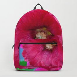 FUCHSIA PINK GARDEN HOLLYHOCKS Backpack