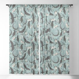 Raven Tarot blue Sheer Curtain