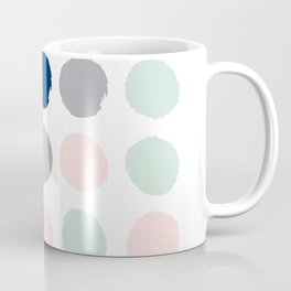 Trendy color palette minimal painted dots polka dot minimalist pink mint grey navy Coffee Mug
