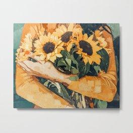 Holding Sunflowers, Woman Flowers Botanical Nature Painting, Boho Plant Lady Vintage Illustration Metal Print