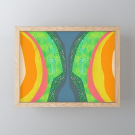 Shapes and Layers no.25 - Abstract painting Blue, Green, pink, yellow orange Framed Mini Art Print