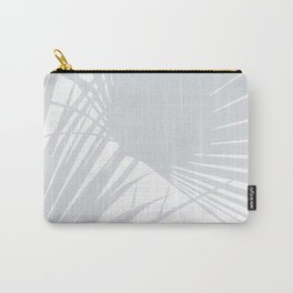 Pale Grey Tropical Leaves Carry-All Pouch