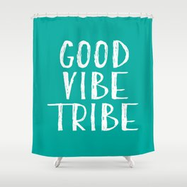 Good Vibe Tribe - Aqua and White Shower Curtain
