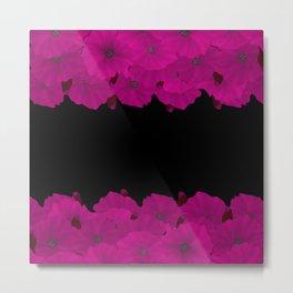 Hot pink black floral pattern . Pink azaleas . Metal Print