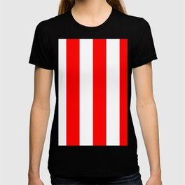 Wide Vertical Stripes - White and Red T-shirt