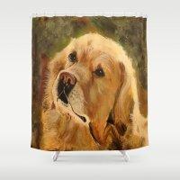 golden retriever Shower Curtains featuring Golden Retriever by Tidwell