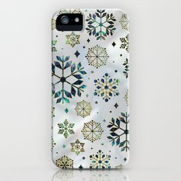 Festive Golden Abalone Shell Snowflake pattern iPhone Case