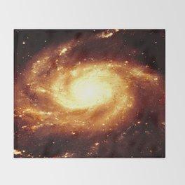 Golden Spiral Galaxy Throw Blanket