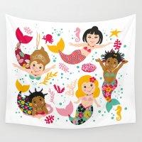 mermaids Wall Tapestries featuring Mermaids by Helene Michau
