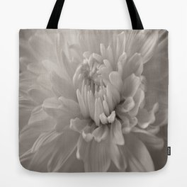 Monochrome chrysanthemum close-up Tote Bag
