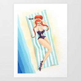 Red Haired Bouffant Beach Blanket Bombshell Art Print