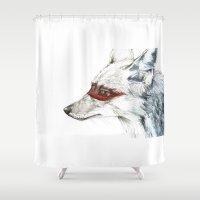 coyote Shower Curtains featuring Coyote I by Susana Miranda ilustración