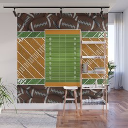 Orange Football Field and Footballs Wall Mural