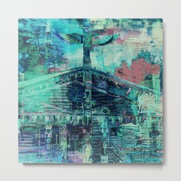 Totem Cabin Abstract - Teal Metal Print