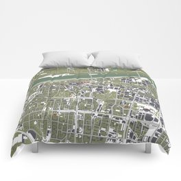 Warsaw city map engraving Comforters