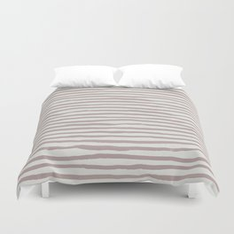 Simply Shibori Stripes Clay Pink on Lunar Gray Duvet Cover