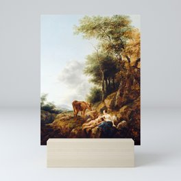 Nicolaes Berchem Landscape with a Nymph and a Satyr Mini Art Print