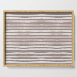 Simply Shibori Stripes Lunar Gray and Red Earth Serving Tray