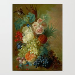 """Jan van Os """"Still life of peonies, a cock's comb and morning glories"""" Poster"""