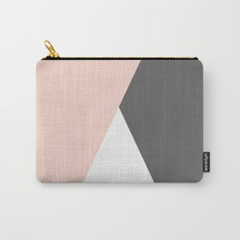 Elegant blush pink & grey geometric triangles Carry-All Pouch
