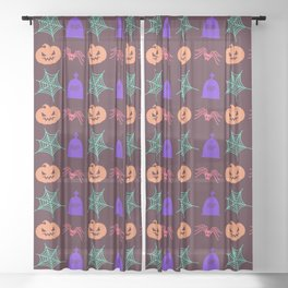 Happy halloween pumkins,web,spiders and graves pattern Sheer Curtain