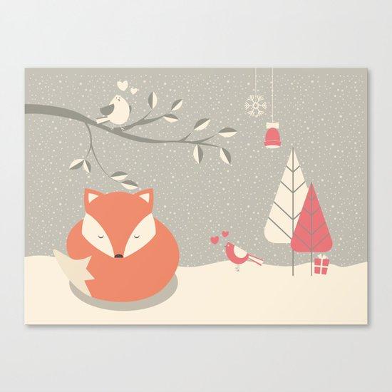 Christmas baby fox 06 Canvas Print