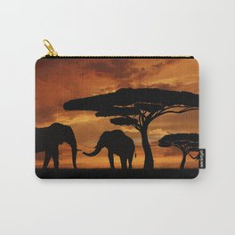 African elephants silhouettes in sunset Carry-All Pouch