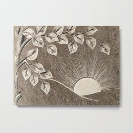 Sun and Tree Carved Stone Metal Print