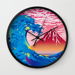 Hokusai Great Wave & Red Fuji at Sunset Wall Clock