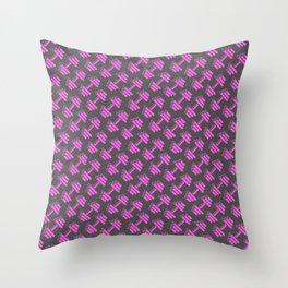 Dumbbellicious PINK GREY Throw Pillow