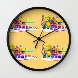 Colorful music instruments design Wall Clock