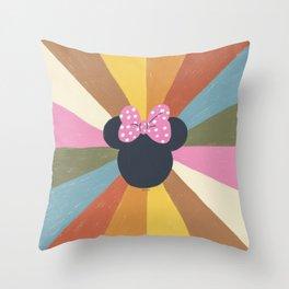 """Rainbow Minnie Mouse"" by Gigi Rosado Throw Pillow"