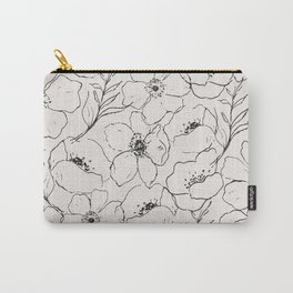 Floral Simplicity - Neutral Black Carry-All Pouch