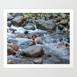 Brothers in harmony in the powerful Mameyes River - El Yunque rainforest PR Art Print