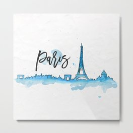 Paris Watercolor Metal Print