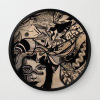 headdress Wall Clocks featuring Headdress by creative kids