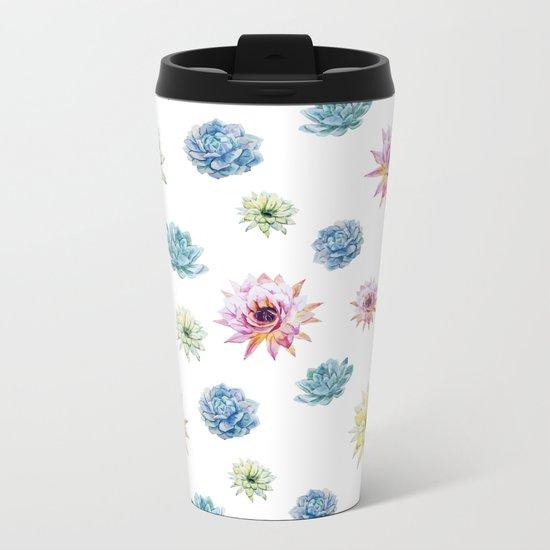 Cactus Pattern 02 Metal Travel Mug