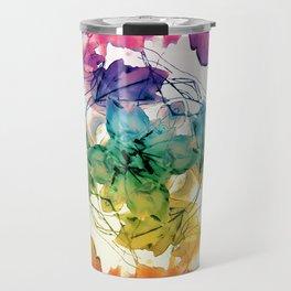 Multicolored Floral Swirls Decorative Design Travel Mug