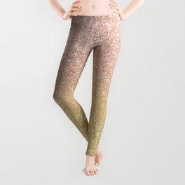 Modern rose gold glitter ombre gold glitter Leggings