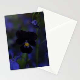 Black and Blue Flower Stationery Cards