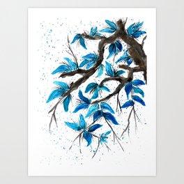 Blu Leaves Art Print
