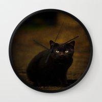 black cat Wall Clocks featuring Black Cat by Tanja Riedel